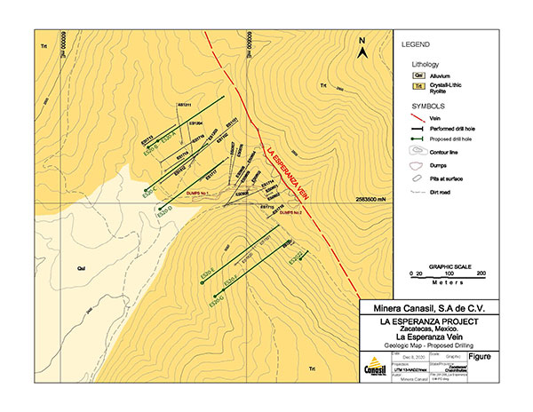 La Esperanza Vein Drill Plan Map with Prior and Planned Drill Holes