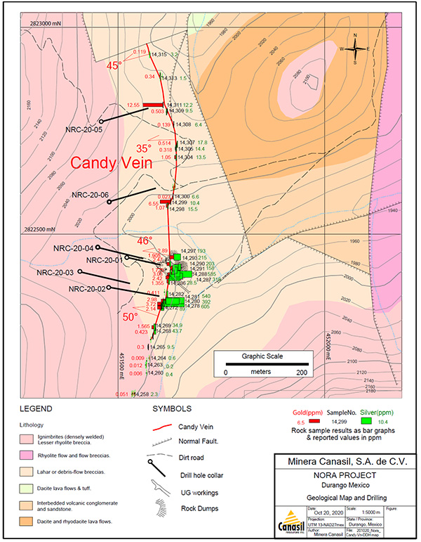 Candy Vein Area Geological Map Showing Drill Holes NRC-20-01 to NRC-20-06
